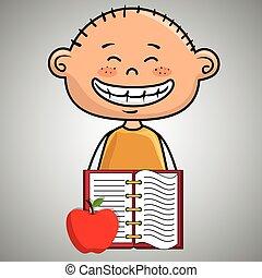 cartoon boy notebook icon