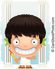 Cartoon Boy Olympian Smiling - A cartoon illustration of a...