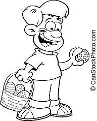Cartoon Boy on an Easter Egg Hunt