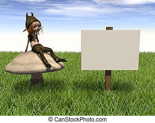 Cartoon boy on mushroom.