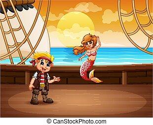 Cartoon boy pirate with mermaid on a ship