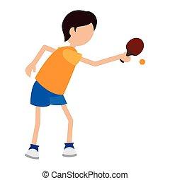 cartoon boy player ping pong
