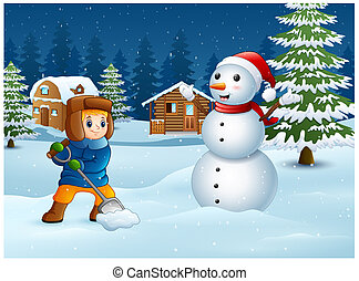 Cartoon boy playing in the snow on winter background
