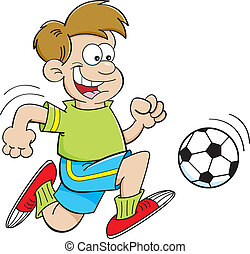Cartoon boy playing soccer