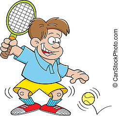 Cartoon illustration of a boy playing tennis.
