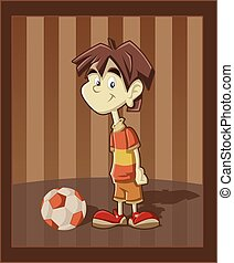 Cartoon boy playing with football