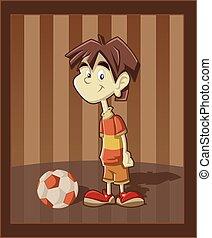 Cartoon boy playing with football