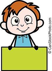 Cartoon Boy Presenting a Blank Banner Vector Illustration