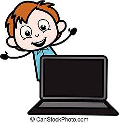 Cartoon Boy Presenting a Laptop Vector Illustration
