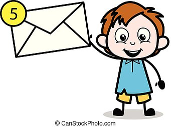Cartoon Boy Presenting a Message Envelope Vector Illustration
