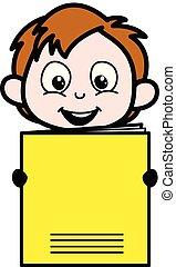 Cartoon Boy Presenting a Notebook Vector Illustration
