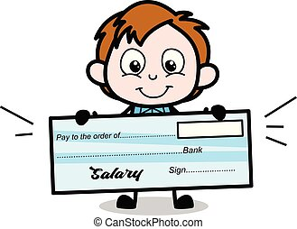 Cartoon Boy Presenting a Salary Cheque Vector Illustration