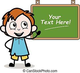 Cartoon Boy Presenting a School Board Vector Illustration