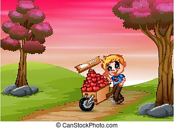 Cartoon boy pushing a pile of hearts in wood trolley on a road