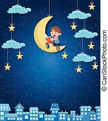 Cartoon boy reading a book on the moon.