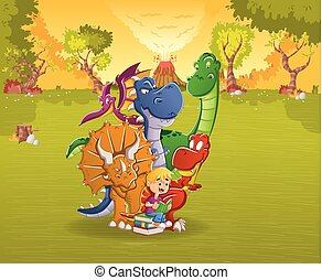 Cartoon boy reading a book to big dinosaurs on a forest with volcano. Prehistoric nature landscape.