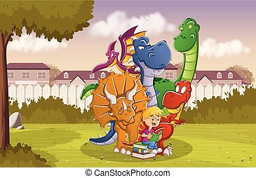 Cartoon boy reading a book to big dinosaurs on the backyard of a colorful house in suburb neighborhood.
