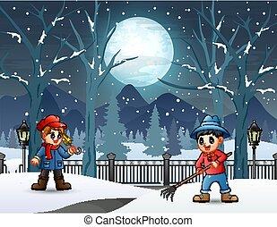 Cartoon boy removing snow on the road