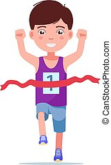 Cartoon boy running and winning a marathon