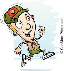 Cartoon Boy Scout Running