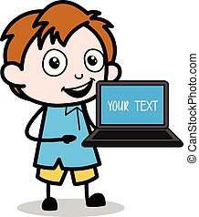 Cartoon Boy Showing a Laptop Vector Illustration