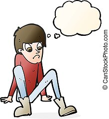 cartoon boy sitting on floor with thought bubble