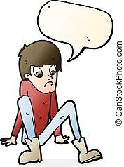 cartoon boy sitting on floor with speech bubble