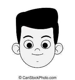 cartoon boy smiling icon, flat design