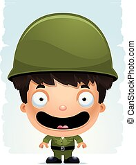 Cartoon Boy Soldier Smiling