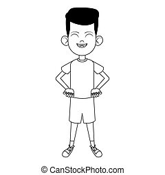cartoon boy standing icon, flat design