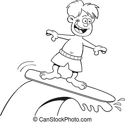 Cartoon boy surfing