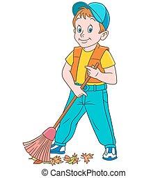 Cartoon boy sweeper