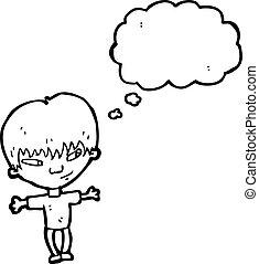 cartoon boy thinking