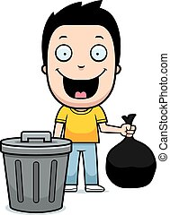 Cartoon Boy Trash - A happy cartoon boy taking out the...