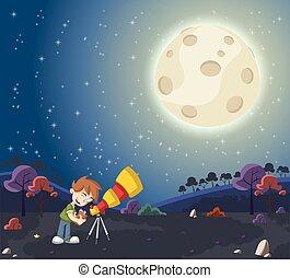 Cartoon boy using a telescope to look at the moon