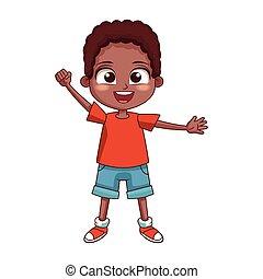 cartoon boy waving icon, colorful design