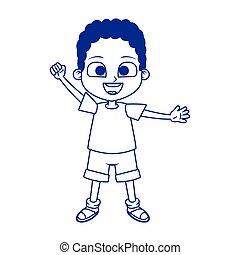 cartoon boy waving icon, flat design