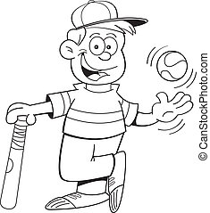 Cartoon Boy with a Baseball and Bat - Black and white...