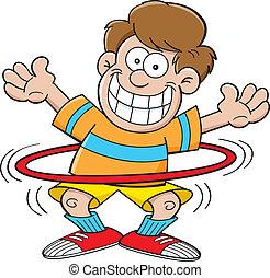 Cartoon boy with a hula hoop - Cartoon illustration of a boy...