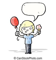 cartoon boy with balloon