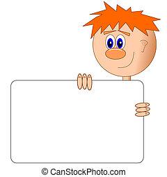 Cartoon boy with billboard