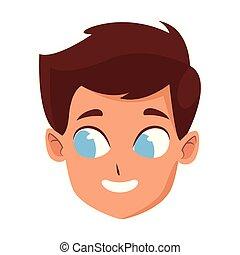cartoon boy with blue eyes, colorful design
