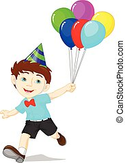 Cartoon boy with bunch of balloon