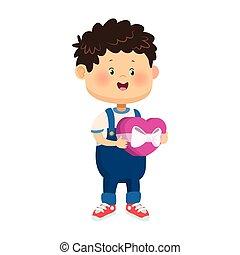 cartoon boy with chocolate heart box, colorful design