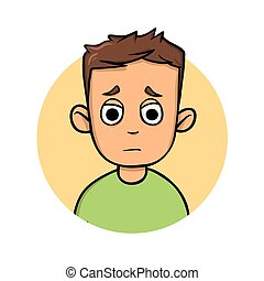 Cartoon boy with dilated pupils. Flat design icon. Flat vector illustration. Isolated on white background.