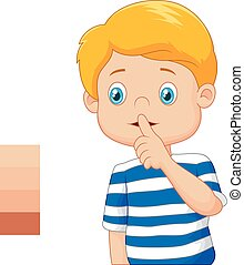 Cartoon boy with finger over his mo - Vector illustration of...