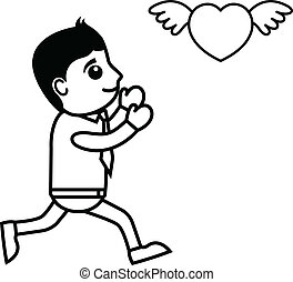 Cartoon Boy with Flying Heart