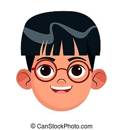 cartoon boy with glasses, colorful design