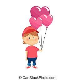 cartoon boy with heart balloons icon, colorful design