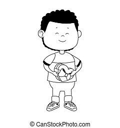 cartoon boy with hearts box icon, flat design